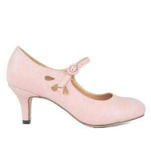 Rose Pink Women's Mary Jane Tear Drop Vintage Pump